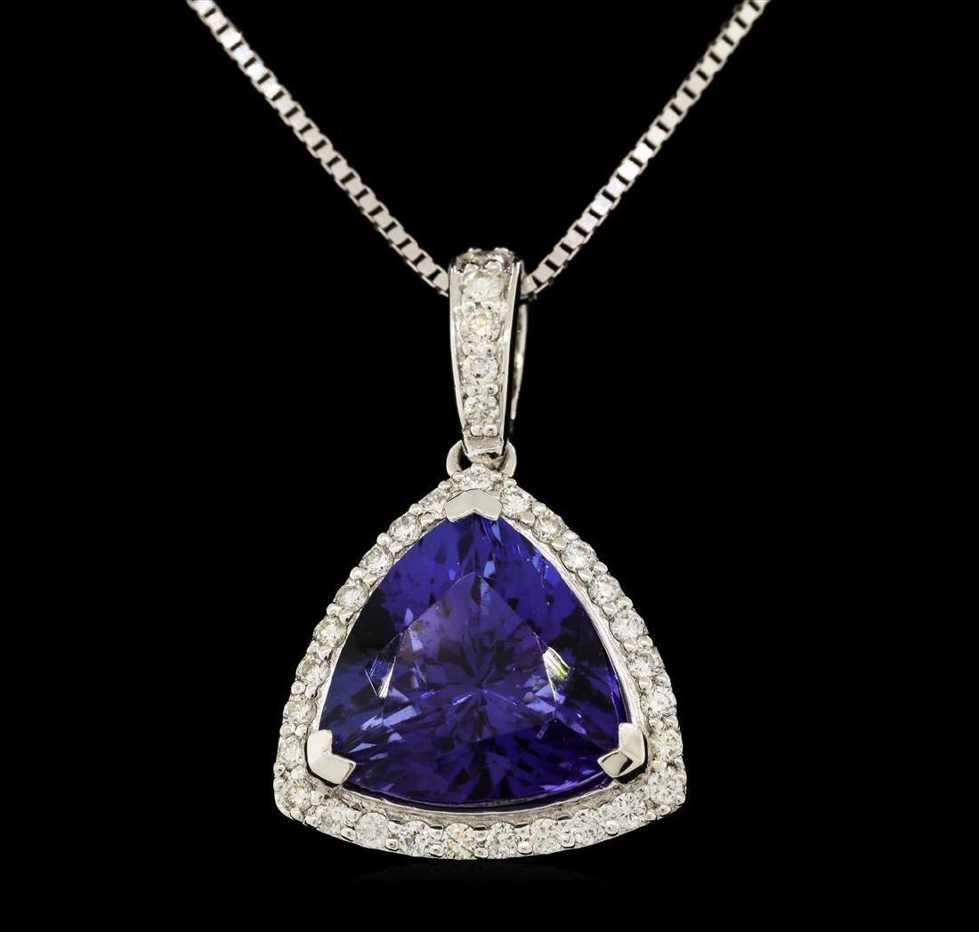 Platinum 6.78ct GIA Certified Tanzanite and Diamond