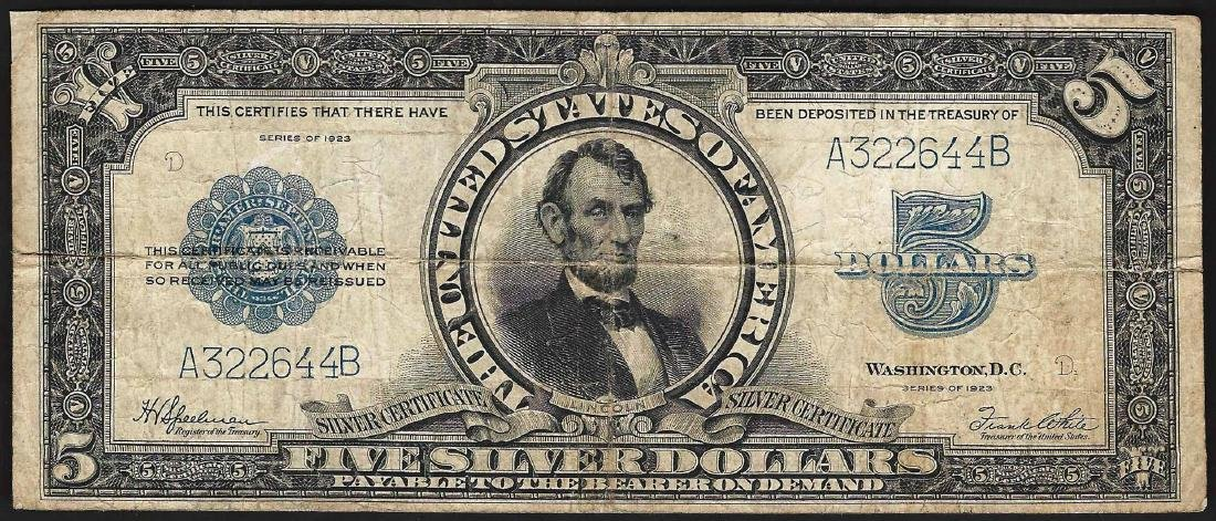 1923 $5 Porthole Silver Certificate Note