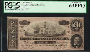 1864 20 Confederate States of America Note T67 PCGS