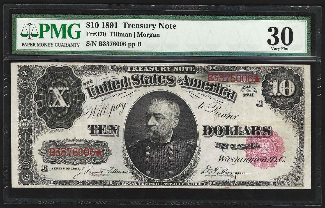 1891 $10 Treasury Note Fr. 370 PMG Very Fine 30