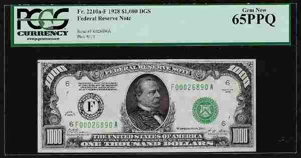 1928 $1000 Federal Reserve Note Atlanta PCGS Gem New