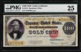 1922 $100 Gold Certificate Note Fr. 1215 PMG Very Fine