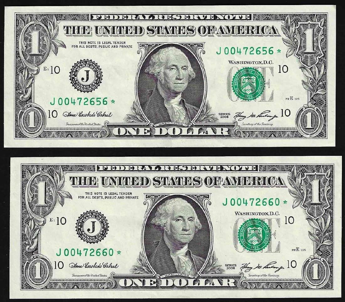 Lot of (2) 2006 $1 Federal Reserve STAR Notes