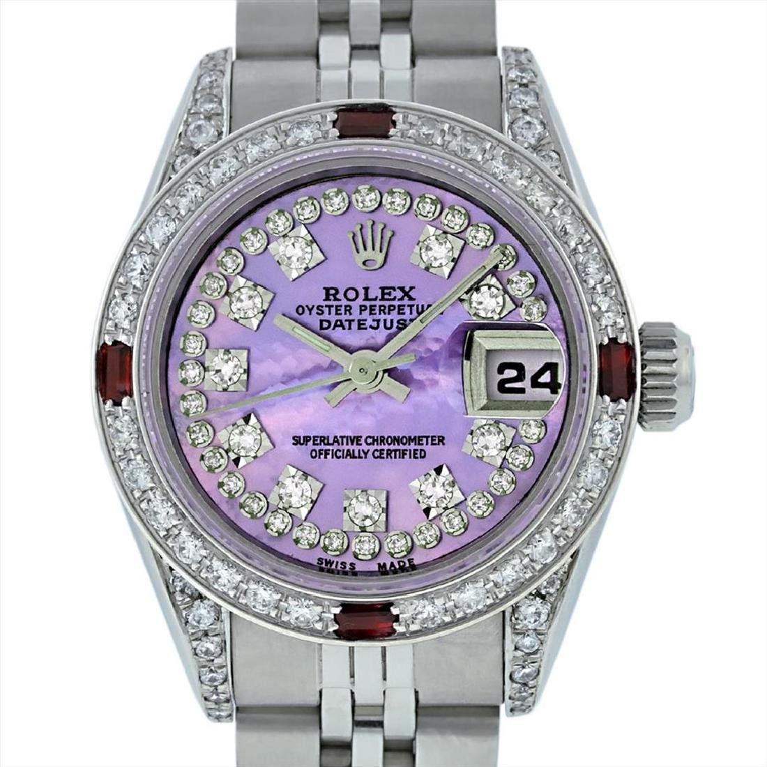 Rolex Stainless Steel Ruby and Diamond Datejust Ladies