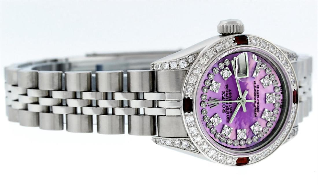 Rolex Stainless Steel Ruby and Diamond Datejust Ladies - 2
