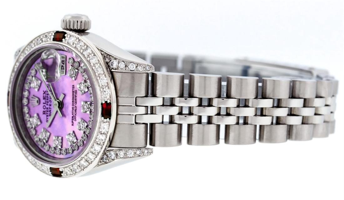 Rolex Stainless Steel Ruby and Diamond Datejust Ladies - 6