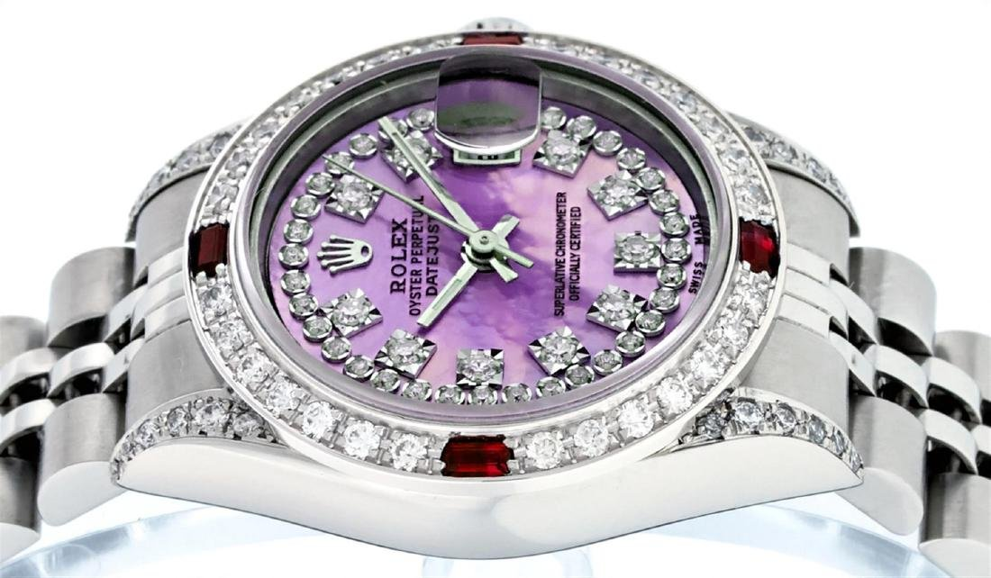 Rolex Stainless Steel Ruby and Diamond Datejust Ladies - 7