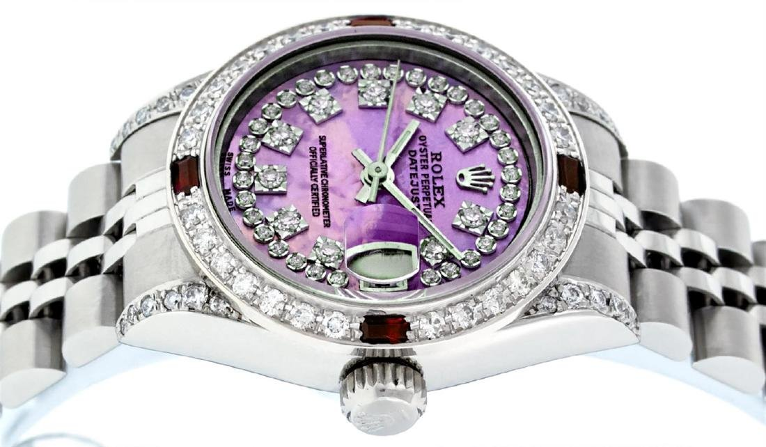 Rolex Stainless Steel Ruby and Diamond Datejust Ladies - 8