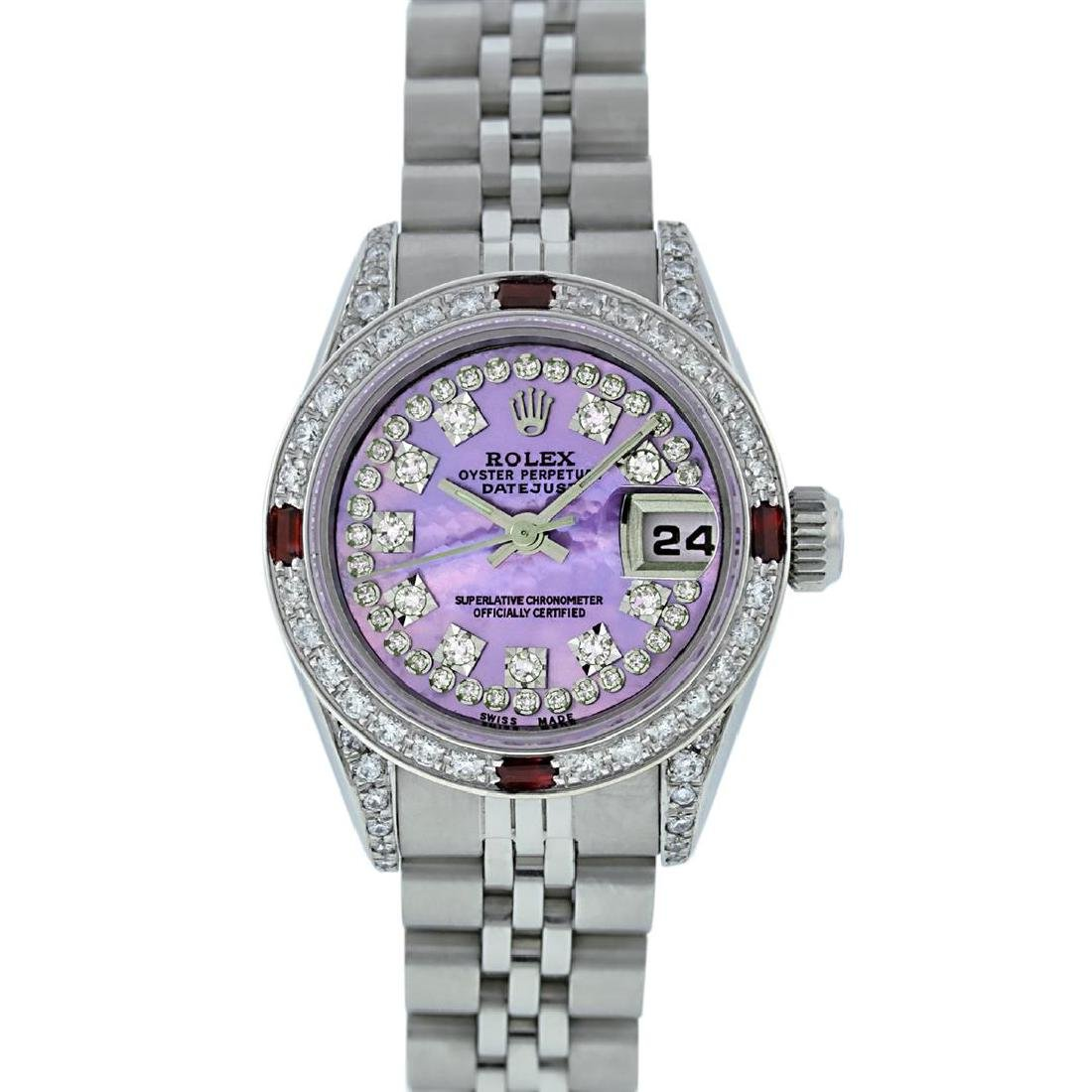 Rolex Stainless Steel Ruby and Diamond Datejust Ladies - 9