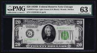 1928B $20 Federal Reserve Note Chicago Light Green Seal