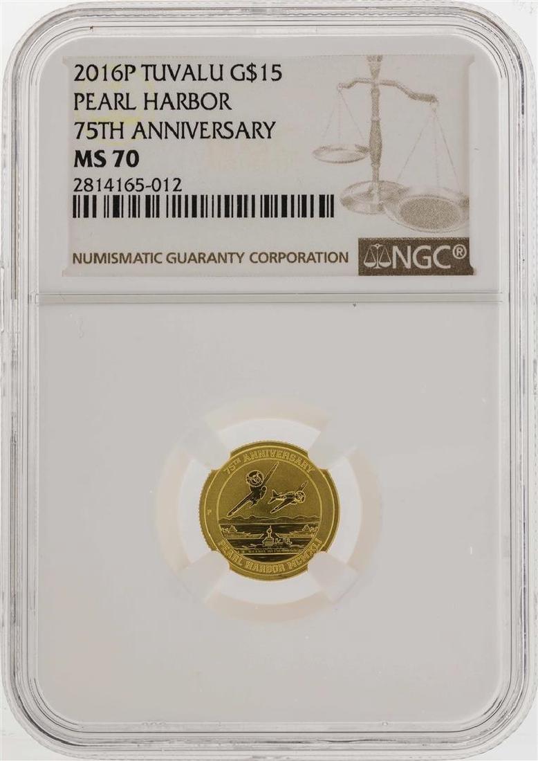 2016P Tuvalu $15 Pearl Harbor Gold Coin 75th