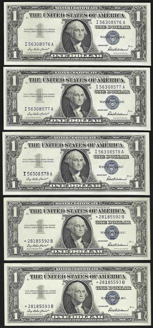 Lot of (5) Consecutive 1957 $1 Silver Certificate Notes