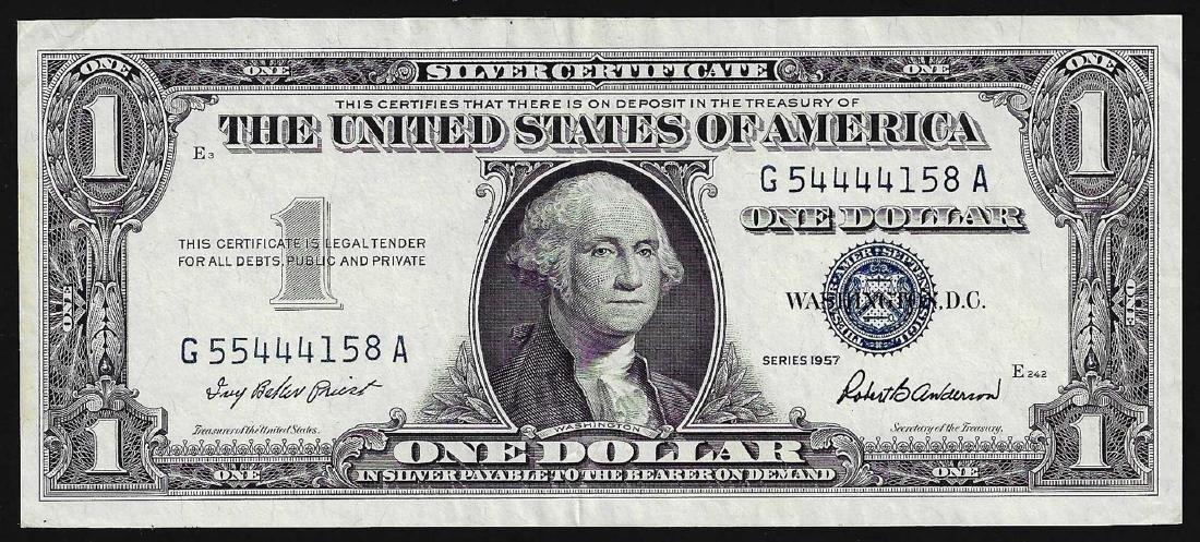 1957 $1 Silver Certificate Note ERROR Mismatch Serial