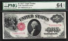1917 $1 Legal Tender Note Fr.39 PMG Gem Uncirculated