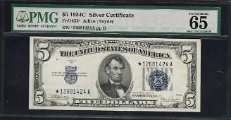 1934C $5 Silver Certificate STAR Note Fr.1653* PMG Gem