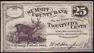 1862 Twenty Five Cents Summit County Bank Obsolete Note
