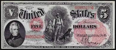 1875 5 Woodchopper Legal Tender Note