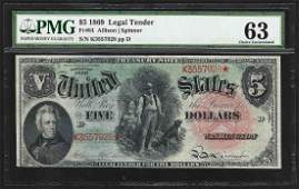 1869 5 Rainbow Woodchopper Legal Tender Note Fr64 PMG