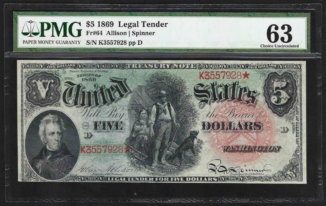 1869 $5 Rainbow Woodchopper Legal Tender Note Fr.64 PMG