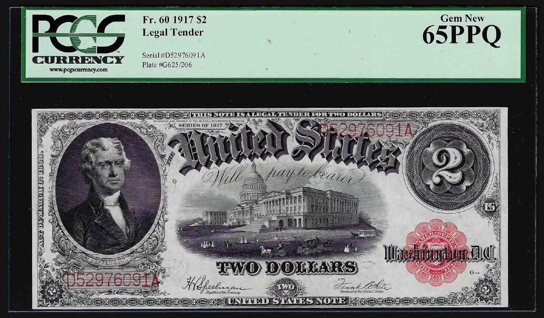 1917 $2 Legal Tender Note Fr.60 PCGS Gem New 65PPQ
