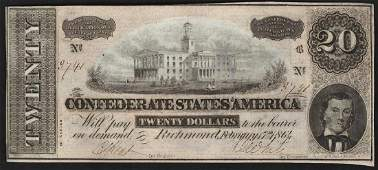 1864 20 Confederate States of America Note