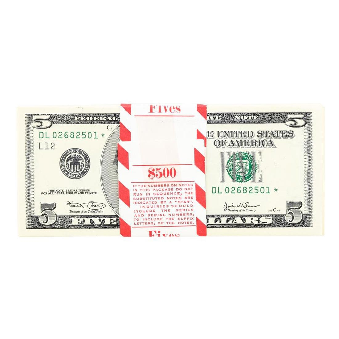 Pack of (100) Consecutive 2003 $5 Federal Reserve STAR