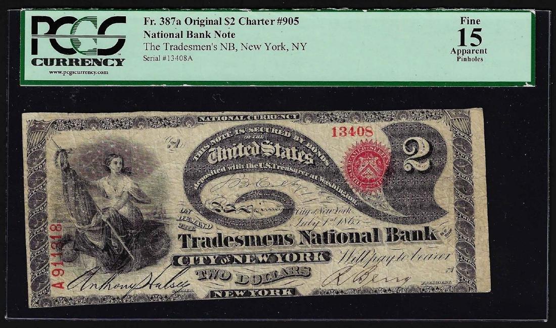 1865 $2 Lazy Deuce Tradesman National Bank Note New