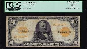 1922 $50 Gold Certificate Note PCGS Very Fine 20