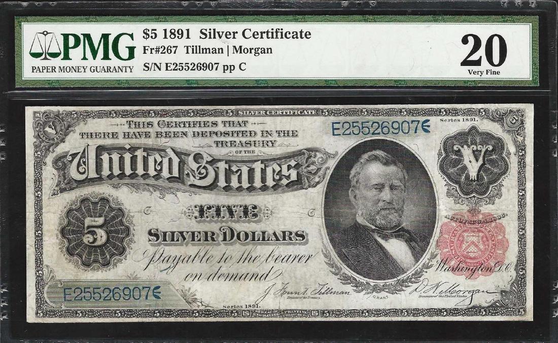 1891 $5 Silver Certificate Note Fr.267 PMG Very Fine 20