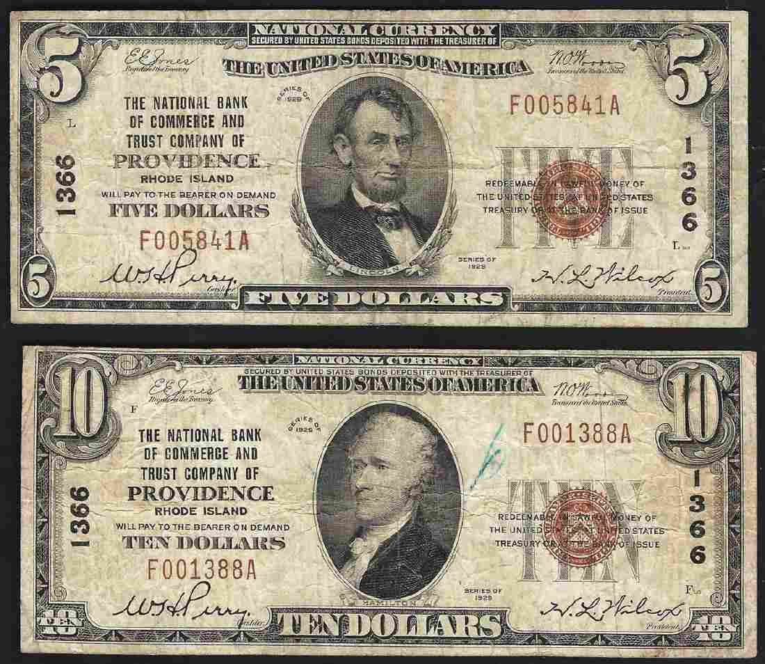 Set of 1929 $5 & $10 Providence Rhode Island National