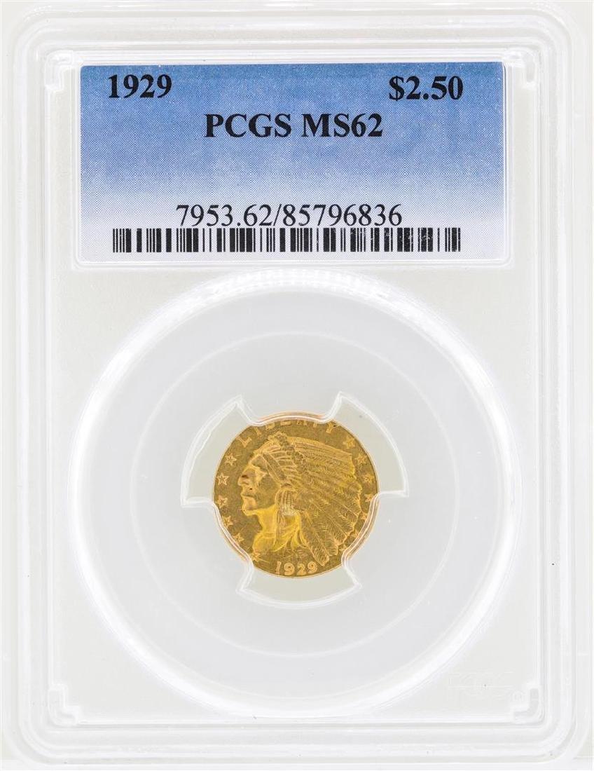 1929 $2 1/2 Indian Head Quarter Eagle Gold Coin PCGS
