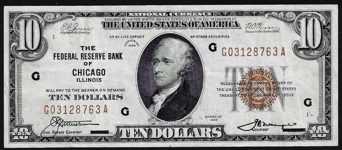 1929 $10 Federal Reserve Bank of Chicago IL Currency