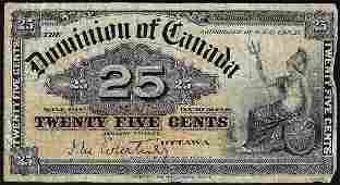 1900 Twenty Five Cent Dominion of Canada Bank Note