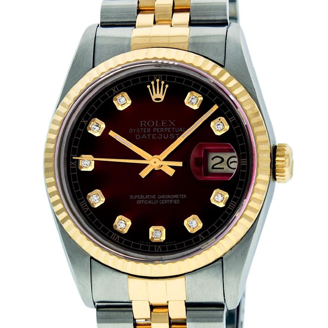 Rolex Mens 36mm Two Tone Yellow Gold Red Vignette