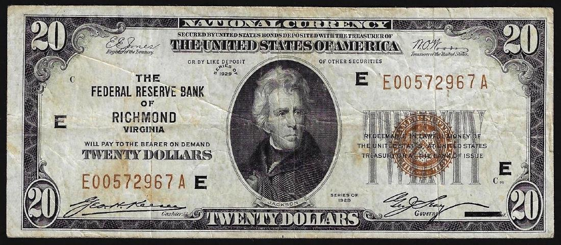 1929 $20 Federal Reserve Bank of Richmond, Virginia