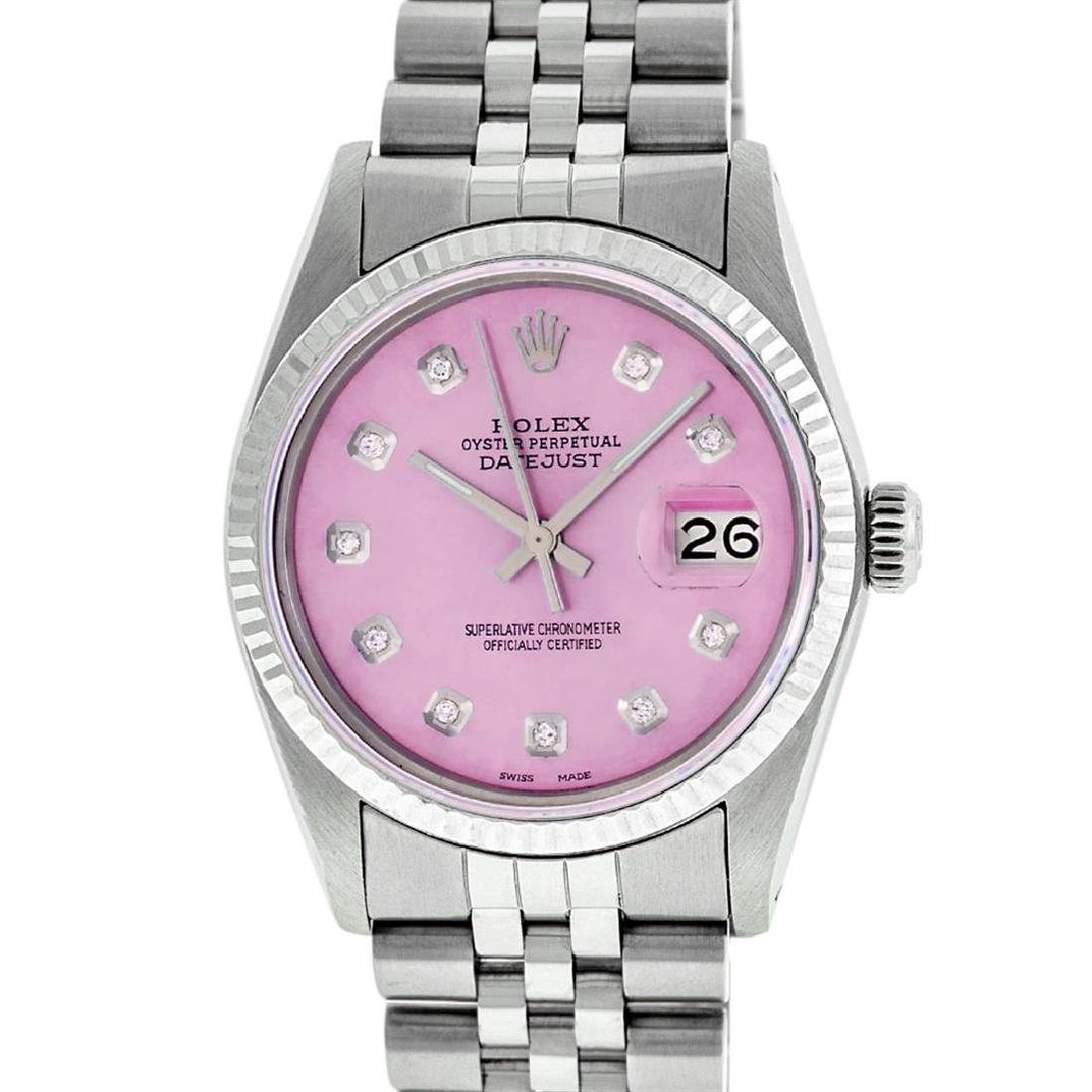 Rolex Mens 36mm Stainless Steel Ice Pink Diamond