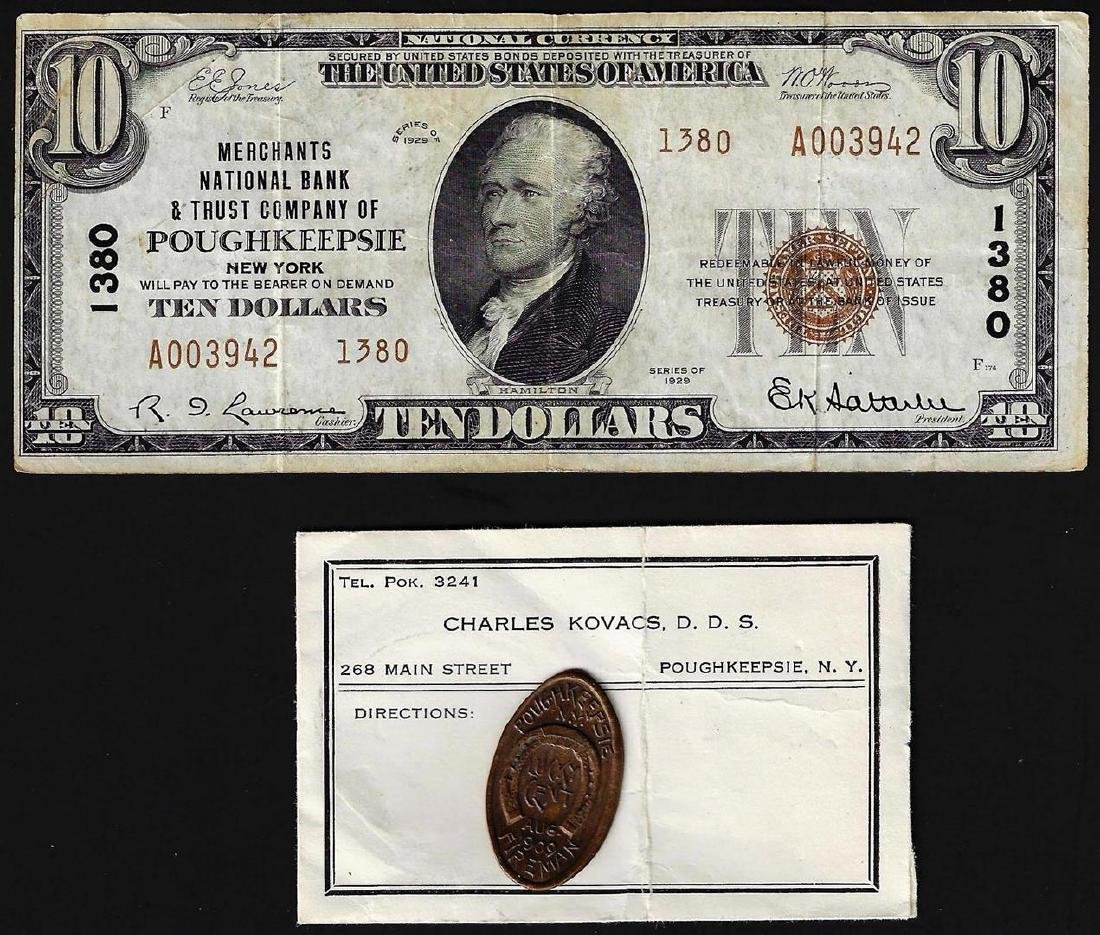 Set of 1929 $10 Poughkeepsie National Note & 1909