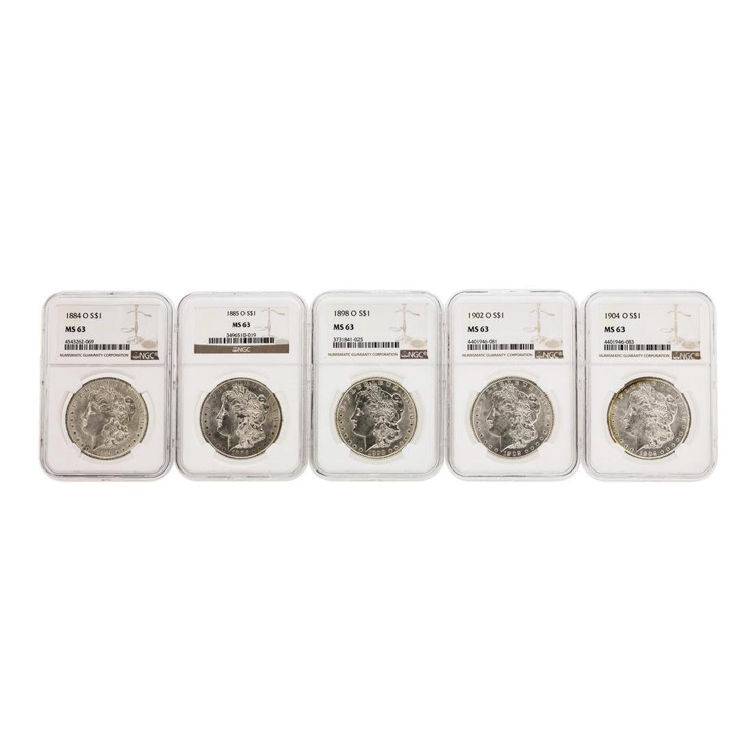 Lot of (5) Assorted $1 Morgan Silver Dollar Coins NGC