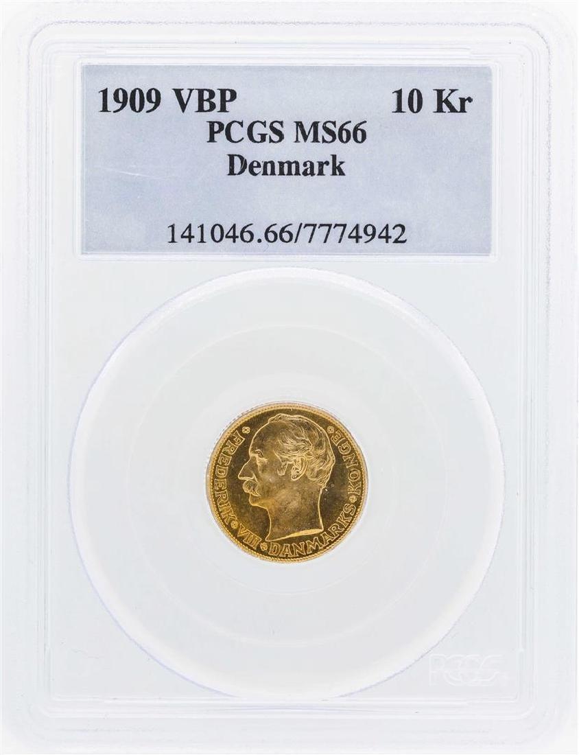 1909 VBP Denmark 10 Kroners Gold Coin PCGS MS66