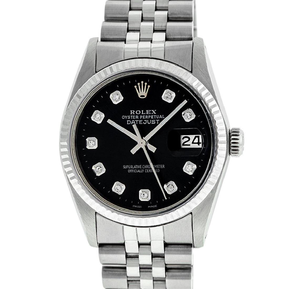 Rolex Mens 36mm Stainless Steel Black Diamond Datejust