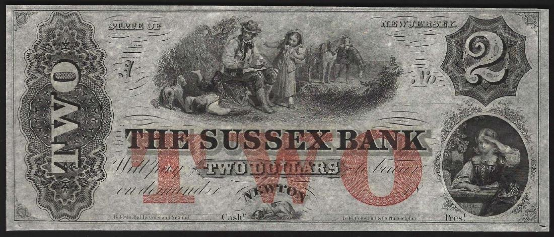 1800's $2 State of New Jersey Sussex Bank Obsolete Note
