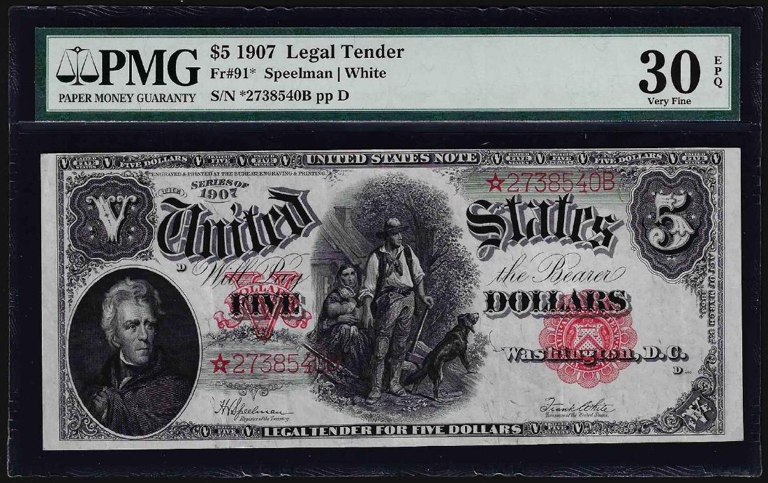 1907 $5 Woodchopper Legal Tender STAR Note Fr.91* PMG