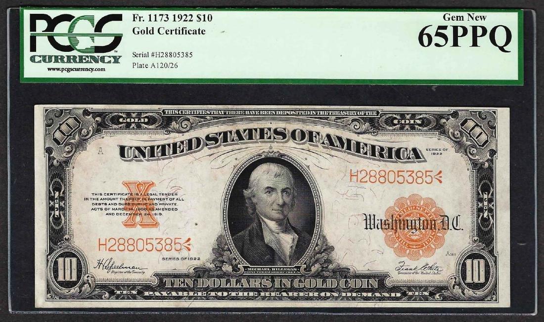 1922 $10 Gold Certificate Note Fr.1173 PCGS Gem New