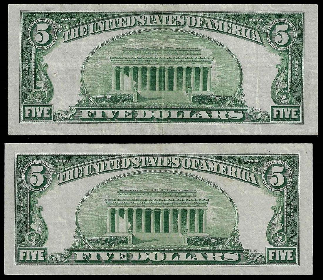 Lot of (2) 1953A $5 Silver Certificate Notes - 2