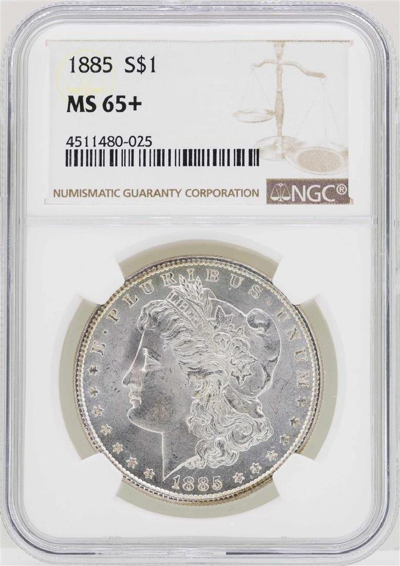 1885 $1 Morgan Silver Dollar Coin NGC MS65+