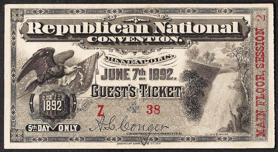 June 7th, 1892 Republican National Convention Ticket