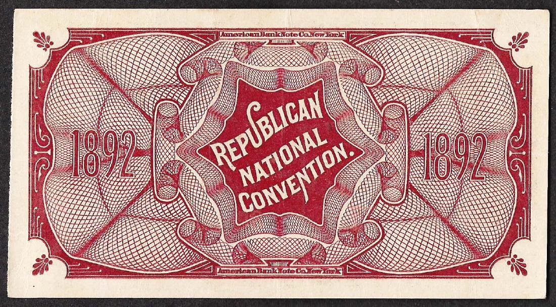 June 7th, 1892 Republican National Convention Ticket - 2