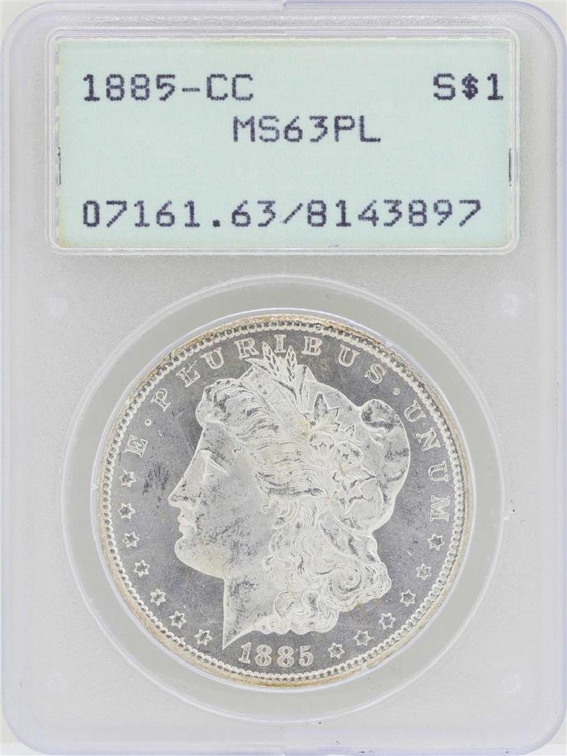 1885-CC $1 Morgan Silver Dollar Coin PCGS MS63PL
