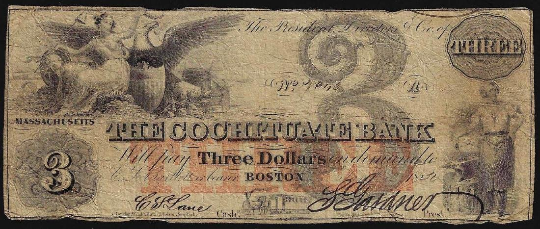 1850 $3 The Cochituate Bank Obsolete Note