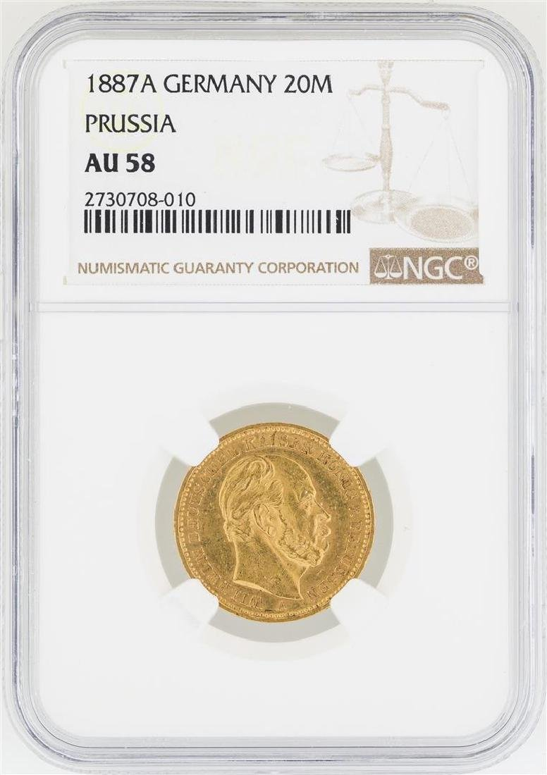 1887-A Germany 20 Marks Prussia Gold Coin NGC AU50